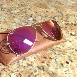 🕶 Ray Ban Hot Pink Aviator Sunglasses